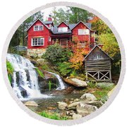 Red House By The Waterfall Round Beach Towel