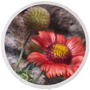 Red Indian Blanket Round Beach Towel