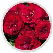 Red Lavaglut Lavaglow Floribunda Roses Round Beach Towel