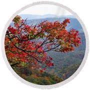 Red Leaves In The Blueridge Round Beach Towel