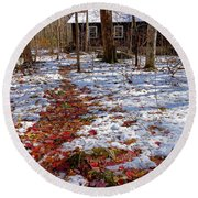 Red Leaves On Snow - Cabin In The Woods Round Beach Towel