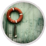 Red Life Saver Rescue Floatation Round Beach Towel