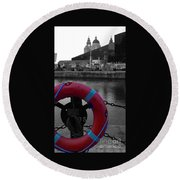 Red Lifebelt At Albert Dock 2 Round Beach Towel