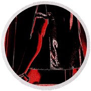 Red Light Black Dress Round Beach Towel