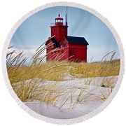 Red Lighthouse By Holland Michigan Known As Big Red Round Beach Towel