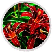 Red Lilies Expressive Brushstrokes Round Beach Towel