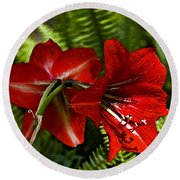Red Lilies For Spring Round Beach Towel
