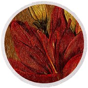 Red Lily Gold Leaf Round Beach Towel