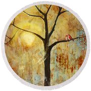 Red Love Birds In A Tree Round Beach Towel