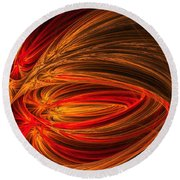 Red Luminescence-fractal Art Round Beach Towel