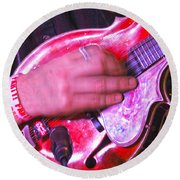 Red Mandolin Round Beach Towel