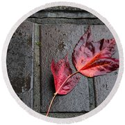 Red Maple Bricks Round Beach Towel