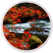 Red Maple Stream  Round Beach Towel
