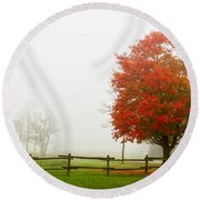 Red Maple Tree And A Split-rail Fence Round Beach Towel