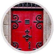 Red Medieval Door Round Beach Towel by Elena Elisseeva