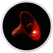 Red Megaphone Round Beach Towel