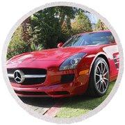 Red Mercedes Benz Round Beach Towel