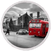 Red Midland Bus And Sheep - 1960's    Ref-126 Round Beach Towel