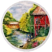 Red Mill At Waupaca Round Beach Towel