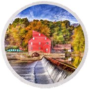 Red Mill Painted Round Beach Towel