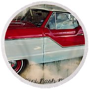 Red Mini Nash Vintage Car Round Beach Towel