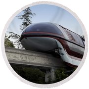 Red Monorail Disneyland 02 Round Beach Towel