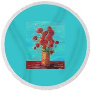 Red On My Table  Round Beach Towel