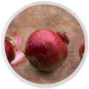 Red Onions On Barnboard Round Beach Towel