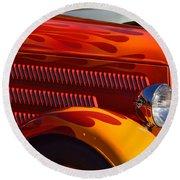 Red Orange And Yellow Hotrod Round Beach Towel