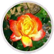 Red Orange And Yellow Rose Round Beach Towel