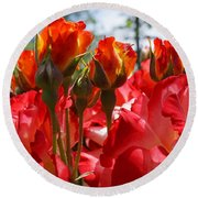 Red Orange Roses Art Prints Floral Photography Round Beach Towel