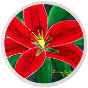 Red Oriental Daylily Round Beach Towel