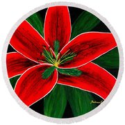 Red Oriental Lily Round Beach Towel