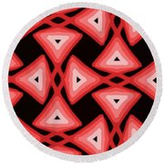 Red Ornament IIi Round Beach Towel