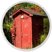 Red Outhouse Round Beach Towel
