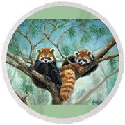 Red Pandas Round Beach Towel