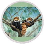 Red Pandas Round Beach Towel