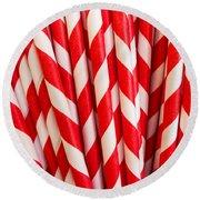 Red Paper Straws Round Beach Towel