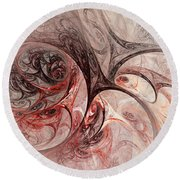 Red Passion - Abstract Art Round Beach Towel
