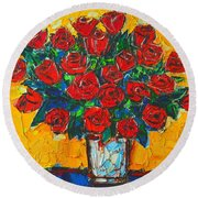 Red Passion Roses Round Beach Towel by Ana Maria Edulescu