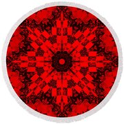 Red Patchwork Art Round Beach Towel