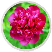 Red Peony Flower Round Beach Towel