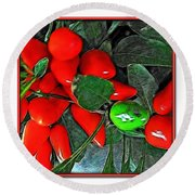 Red Pepper Plant Round Beach Towel