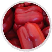 Red Peppers Round Beach Towel