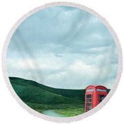Red Phone Box On Rural Road Round Beach Towel