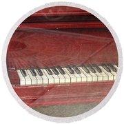 Red Piano 2 Round Beach Towel