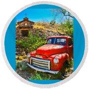 Red Pickup Truck At Santa Fe Round Beach Towel