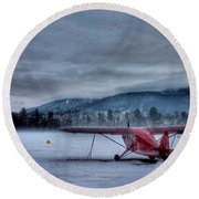 Red Plane In A Gathering Storm Round Beach Towel