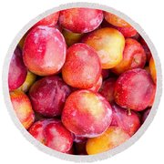 Red Plums Round Beach Towel
