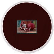 Red Pomegranate Round Beach Towel